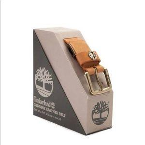 Timberland Logo Genuine Leather Belt